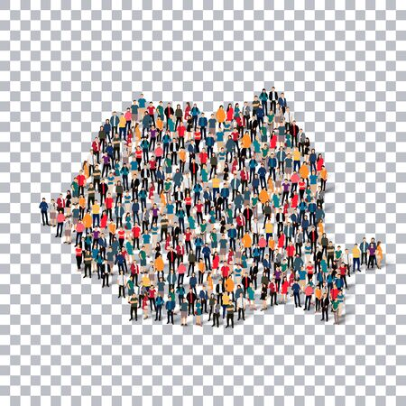 people: people map country Romania a vector Stock Photo