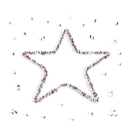 celebrities: People walking in star .3D illustration.