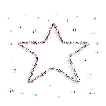People walking in star .3D illustration.