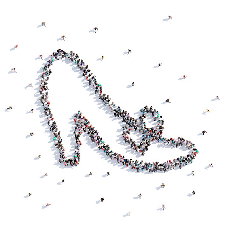 A lot of people form shoe, childrens drawing