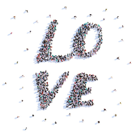 A lot of people form love, icon . 3d rendering.
