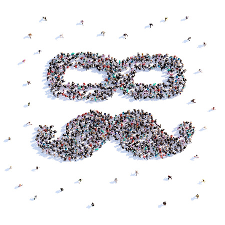 A lot of people form hipster, icon . 3d rendering. Stockfoto