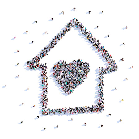 A lot of people form home, heart, icon . 3d rendering. Stockfoto