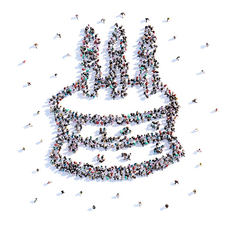 A lot of people form cake, icon . 3d rendering.