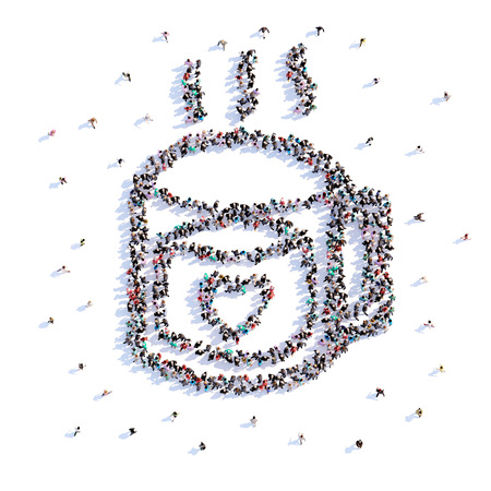 A lot of people form cup of tea, love, icon . 3d rendering. Stockfoto