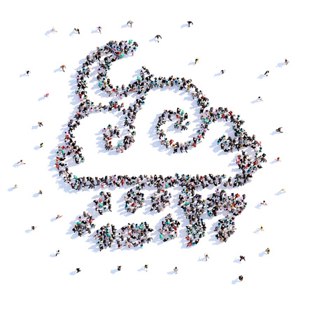 A lot of people form cloud, icon . 3d rendering.