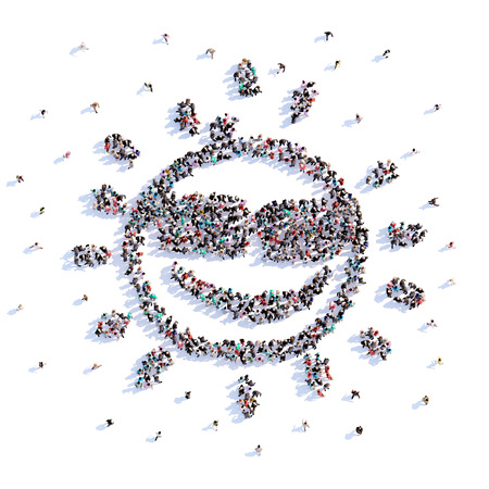 A lot of people form the sun, icon . 3d rendering.
