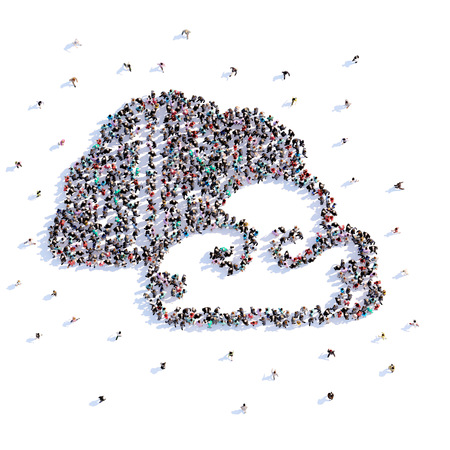 A lot of people form cloud, icon on a white background. 3d illustration. 3d rendering. Stockfoto