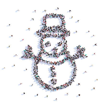 A lot of people form snowman, winter, icon . 3d rendering.