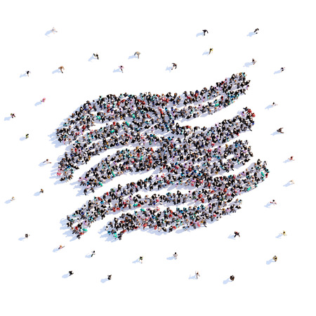 A lot of people form wind, icon . 3d rendering. Stockfoto