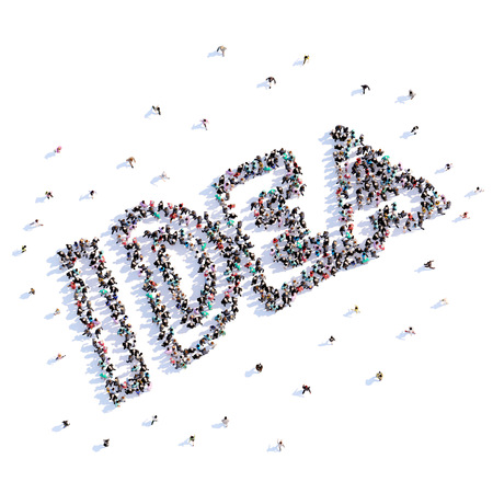 A lot of people form idea, icon . 3d rendering.