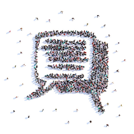 A lot of people form message, icon . 3d rendering. Stockfoto
