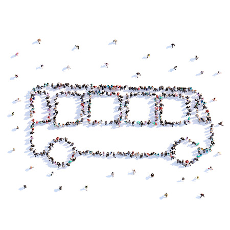 A lot of people form bus, icon . 3d rendering.