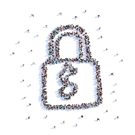 A lot of people form lock, icon . 3d rendering. Stockfoto - 107584946