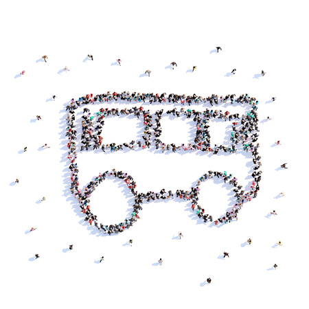 A lot of people form bus, icon . 3d rendering. Stockfoto - 107584956