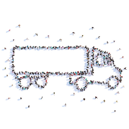 A lot of people form truck, icon . 3d rendering. Stockfoto - 107584957
