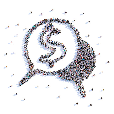 A lot of people form message, icon . 3d rendering. Stockfoto - 107584959