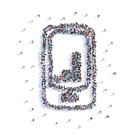 A lot of people form phone with graphs, business, icon . 3d rendering.