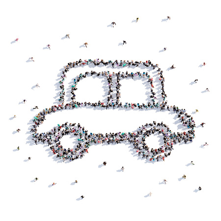 A lot of people form car, toy, icon . 3d rendering.