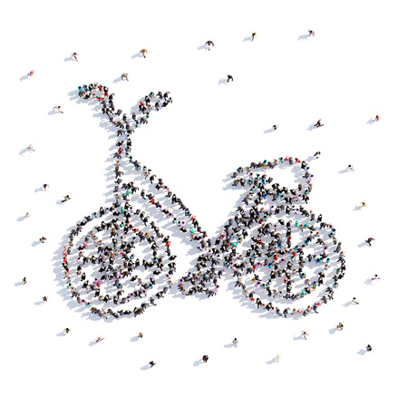 A lot of people form bike, icon . 3d rendering. Stockfoto - 107522620