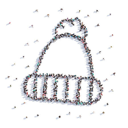 A lot of people form Christmas, winter hat, icon . 3d rendering.