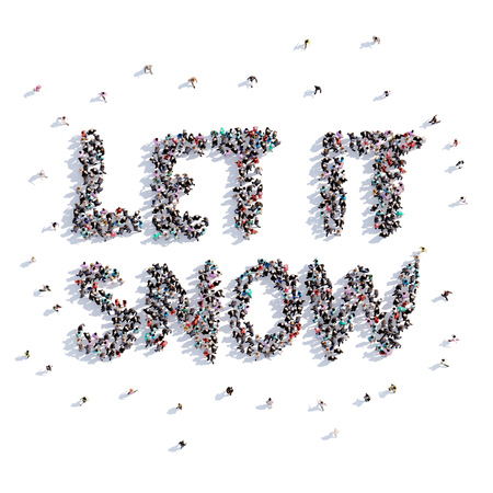 A lot of people form let it snow, Christmas,icon . 3d rendering.