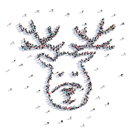 A lot of people form christmas, deer, icon . 3d rendering. Stockfoto