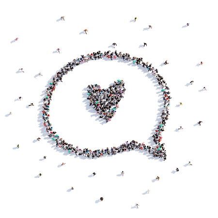 A lot of people form buble chat, love, icon . 3d rendering. Stockfoto - 107584990