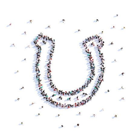 A lot of people form horseshoe, farming, icon . 3d rendering.