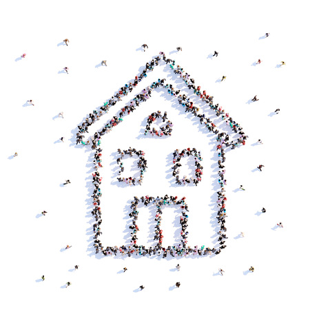 A lot of people form house, farming, icon . 3d rendering.