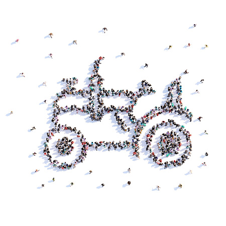 A lot of people form tractor, farming, icon . 3d rendering.
