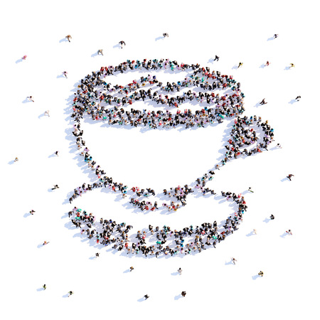 A lot of people form coffee, icon . 3d rendering. Stockfoto