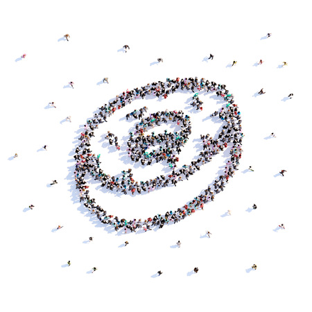 A lot of people form donut, icon . 3d rendering. Stockfoto - 106782271