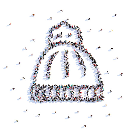 A lot of people form winter hat, icon . 3d rendering. Stockfoto - 106782278