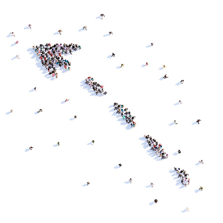 A lot of people form arrow, direction, icon . 3d rendering.