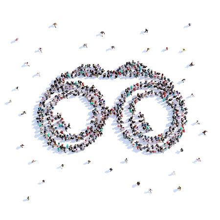 A lot of people form binoculars, trekking, icon . 3d rendering. Stockfoto - 106782282