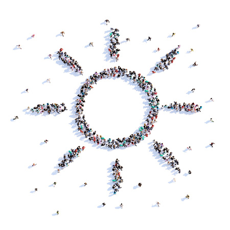 A lot of people form a sun, trekking, icon . 3d rendering. Stockfoto