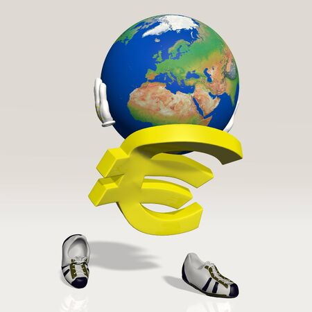 Euro symbol character who carries the world on his shoulders as Atlas Stock Photo
