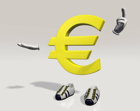 emphasizes: Character symbol euro which explains and emphasizes something that can hold