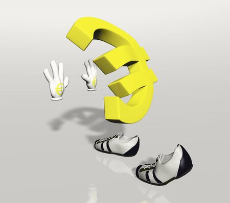 Euro symbol character holding, stops or pushes something with his hands Stock Photo