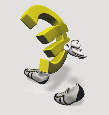 Euro symbol character walking sad and dejected with his hands folded behind his back