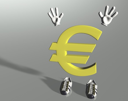 euro symbol character that raises his hands in surrender