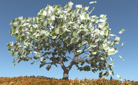 Tree on flowering meadow with € 100 bills instead of leaves Stock Photo