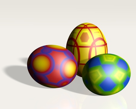 three easter eggs on neutral ground in the foreground illuminated by a directional light