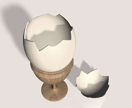 Open eggshell on wooden egg cups with a piece of shell on the ground