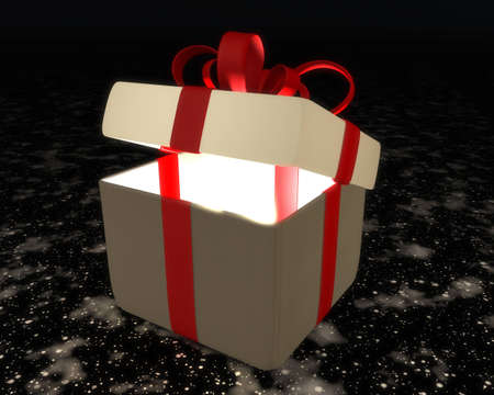 A semi-open gift box with red ribbon and bow on abstract plan with a light that comes from within Stock Photo