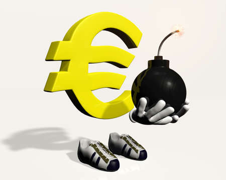 Euro symbol character that holds and shows a lit bomb in his hands