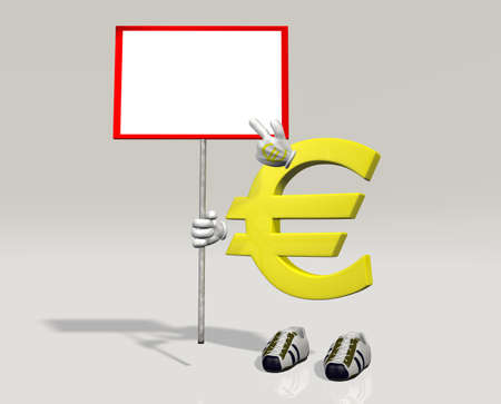 Euro symbol character indicates that something written in the sign that holding in his right hand Stock Photo