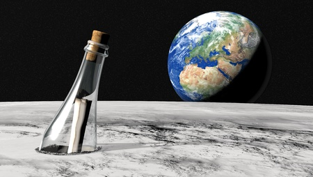 Closeup of a message in a bottle on the lunar surface and the world in the background Stock Photo