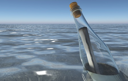 Closeup of a message in a bottle in the sea with some reflections on its surface and a blue sky in the background
